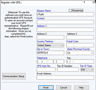 Registering UPS account